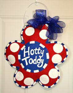 Ole Miss Rebels Hotty Toddy Football Burlap Door Hanger School Spirit College Team Decoration Personalized Dorm Room. $35.00, via Etsy.