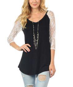 Loving this Black & White Lace-Sleeve Scoop Neck Raglan Tunic on #zulily! #zulilyfinds