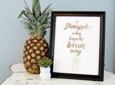 Gold foil summer stitched pineapple printable