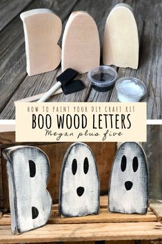 DIY CRAFT KIT how to paint your free standing BOO wood cutouts how to paint your diy craft kit, BOO wood letters. DIY craft kits for adults. Halloween Crafts To Sell, Homemade Halloween, Halloween Projects, Diy Projects, Halloween Decorations, Rustic Halloween, Halloween Ideas, Fall Wood Crafts, Spring Crafts