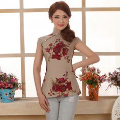 Ethnic Chinese women's national shipping vintage linen cotton dress shirt improvements - SGbuy4u - Simply Better Shopping!