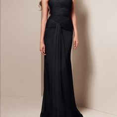 Crinkle Chiffon Vera Wang Bridesmaid dress Black Vera Wang Dresses