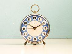 Vintage Alarm Clock Blue White Mechanical Manual Wind Up 70s. via Etsy.