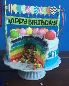 Regenbogen Geburtstagstorte mit Überraschungseffekt