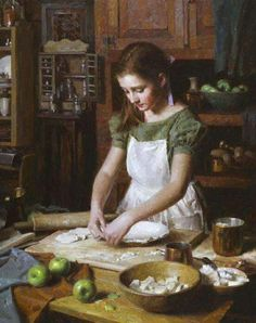 Girl making a pie