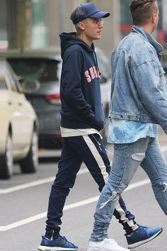 Justin Bieber wearing Adidas Ultra Boost 3.0, Supreme Chenille Arc Logo Hoodie