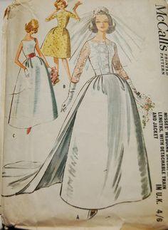 Vintage 1960s Sewing Pattern-Wedding Dress & Detachable Train-Size 14;Bust 34 | eBay