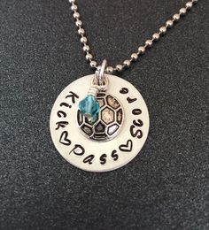 A personal favorite from my Etsy shop https://www.etsy.com/listing/202139218/hand-stamped-soccer-necklace-soccer