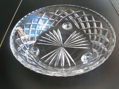 Vintage Crystal Tri-Footed Bowl With Diamond Pattern