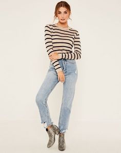 58ca98d5073 Merino Blend Striped Rib Knit