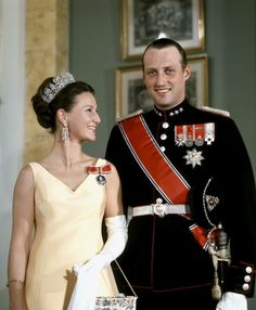 Queen Sonja and King Harald V of Norway (at the time Crown Prince  Princess of Norway)