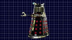 Black Type 6 Hover Dalek.  Original model created by Mechmaster (mechmaster@cg-lair.co.uk).  OBJ conversion to LWO and surfacing/texturing by me.  Graph Paper 3D model created by me.