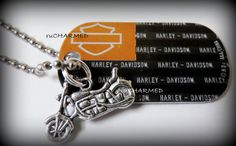 Harley Davidson Dog Tag with Motorcycle CharM  Key by ruCHARMED, $3.00