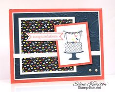 Stamp 4 fun with Selene Kempton: 4/2 Make a cake with Itty Bitty Banners and Patio Party Designer Paper