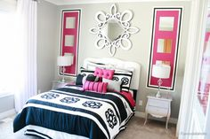 wall painting ideas paint ideas decorative painting ideashe simple painted frames on the wall give this room a lot of interest and I love how they frame the bed! Read more at http://www.remodelaholic.com/25-interior-painting-ideas/2/#oruMDwTsIuXm4QG0.99
