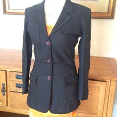 Black fitted blazer Super cute!  Work, with jeans, to. Movie! Had tons of compliments! This was from the late 80's early 90's and looks brand new!!! Thalian Jackets & Coats Blazers