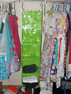 How to Make a Clothes Organizer (Super Easy!) In the closet with clothes in it – Not bad for $7.00 and 20 minutes worth of work.