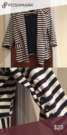 Navy/White Striped Blazer Super cute nautical blazer! Very flattering and rarely worn! Jackets & Coats Blazers