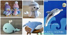 Amigurumi Crochet Sea Creature Animal Toy Free Patterns: Crochet Sea world Animals, Under the sea softie toys, Whales, Seal, Sea Lion...