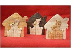 Artesanato Paraty - Artesanato em madeira: Gatos 017 10cm x 15 cm R$ 16,00