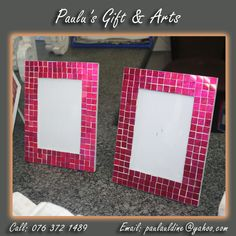 Beautiful mosaic pink frames available in our store in Diaz. Come see them in our shop in Diaz you will like them. Or call us on: 076 372 1489 #Gifts #Arts #frames