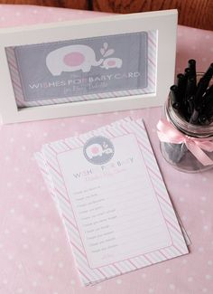 Elephant Baby Shower Wishes for Baby Advice Printable Card via Etsy