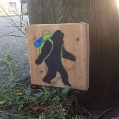 Backpacker Sasquatch street art.