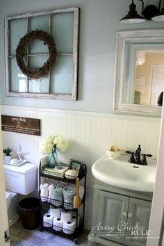 Marvelous Farmhouse Style Home Decor Idea (7): metal three tier cart for powder room