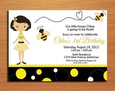 Bumble Bee, Honey Bee Birthday Party Invitation Cards PRINTABLE DIY. $15.00, via Etsy.