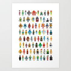 Pixel Heroes Art Print by Pahito - $15.00