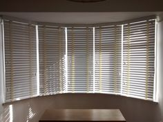 Wood Venetian Blinds In Chalk Colour Fitted To A 5 Sectioned Bay Window By The