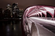 Peace Bridge by Jeremy Saunders on Flickr - Peace Bridge is a pedestrian bridge in Calgary, designed by renowned Spanish architect Santiago Calatrava, that accommodates both pedestrians and cyclists crossing the Bow River in Calgary, Alberta, Canada