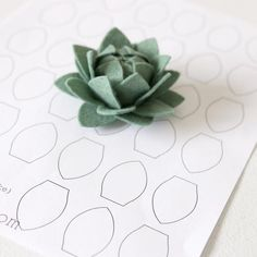 Hand cutting intricate felt petal shapes has never been easier! You will love this felt petal template and the beautiful results you can get. Simply print off your PDF and use our FREEZER PAPER method and you're ready to go! Succulent Artichoke Petal / Q Handmade Flowers, Diy Flowers, Fabric Flowers, Paper Flowers, Felt Diy, Felt Crafts, Felt Flower Template, Felt Templates, Felt Flowers Patterns