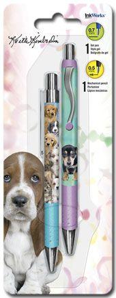 Keith Kimberlin Puppies - Gel Pen Mechanical Pencil Combo - 2pk