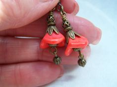 Deep Orange Glass Flower Dangle Earrings by doodaba on Etsy Tote Bags Handmade, Handmade Items, Handmade Gifts, White Throw Pillows, Orange Earrings, Art Deco Necklace, Art Deco Wedding, Red Rhinestone, Vintage Pink