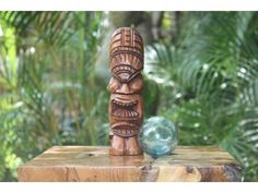 "Love Tiki Totem 8"" Stained - Hawaiian Tiki Bar Decor"