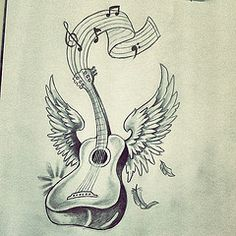 acoustic guitar tattoo google search more tattoo ideas guitar ook    Acoustic Guitar Drawing Tattoo