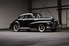 A gleaming black 1948 Chevrolet Stylemaster Club Coupe. #vintage #1940s #cars