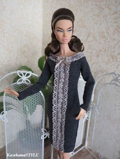"""Clothes are made by me in smoke free and pet free environment. Made on sewing mashine and finished by hand. Perfect fit for 12"""" Poppy Parker and for similar dolls. Clothes for your dolls. Gray dress with lace and pockets. 