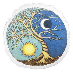 Cojín Redondo Yin-Yang Moon and Sun