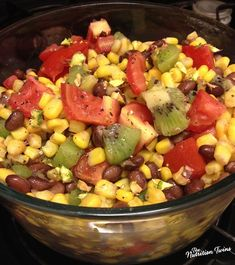 Black Bean, Kiwi and Corn Salad with WINE VINAIGRETTE | Simple, Refreshing, Healthy | Fiber and Protein-Packed | For MORE RECIPES please SIGN UP for our FREE NEWSLETTER NutritionTwins.com