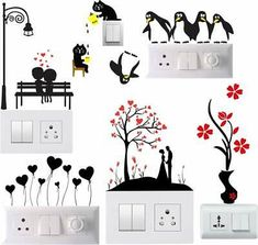 Decals Creation Switch Board Sticker Switch Stickers Wall Stickers Light Switch Stiker out of 5 stars 143 9494 550550 Save 456 Get it Monday March 30 - Tuesday March 31 Simple Wall Paintings, Creative Wall Painting, Wall Painting Decor, Creative Walls, Diy Wall Art, Diy Painting, Room Stickers, Wall Stickers Murals, Wall Drawing