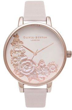 Main Image - Olivia Burton Begin to Blush Leather Strap Watch, Trendy Watches, Elegant Watches, Cool Watches, Women's Watches, Jewelry Accessories, Fashion Accessories, Cuir Rose, Luxury Watches, Fashion Watches