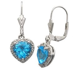 Sterling Silver Heart Shape Natural Blue Topaz Earrings *** Learn more by visiting the image link.(This is an Amazon affiliate link and I receive a commission for the sales) #Earrings