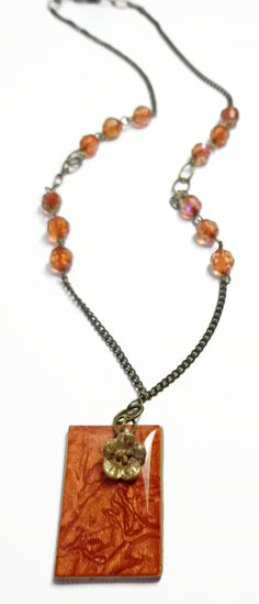 Russet Mica Shift Pendant Chain Necklace jewelry by BeadazzleMe, $22.00