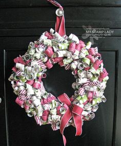 Season of Style Curled Paper Christmas Wreath. #diy #Christmas #wreath. See how to make this wreath at www.mystamplady.com