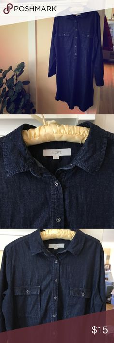 Anne Taylor Chambray Career Shirt Dress - Large Crisp , denim, chambray shirt dress, in excellent condition.  Can easily go from work to play with a change of shoes!  Pair with a colorful , patterned neck scarf or chunky signature jewelry ... anne taylor loft Dresses Long Sleeve