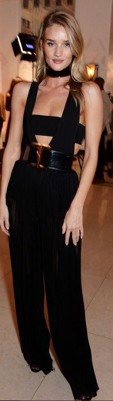 Rosie Huntington-Whiteley, black cut out jumpsuit