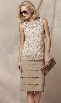 beige lace top & scalloped skirt