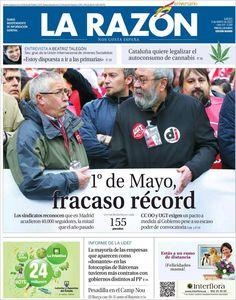 Los Titulares y Portadas de Noticias Destacadas Españolas del 2 de Mayo de 2013 del Diario La Razón ¿Que le parecio esta Portada de este Diario Español?